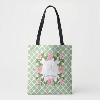 Nile Green Quatrefoil Pink Rose Monogram With Name Tote Bag