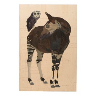 NILGAI & VIOLET OWL Wooden Canvas Wood Wall Decor