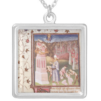 Nimrod Overseeing the Building of Tower of Square Pendant Necklace