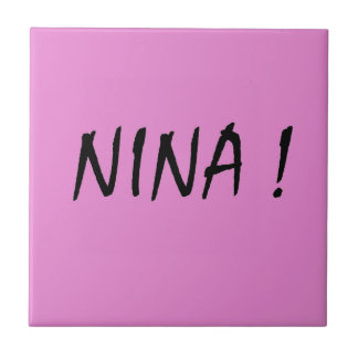 Nina text girls name with pink background ceramic tile