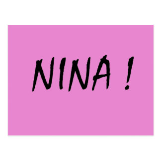 Nina text girls name with pink background postcard
