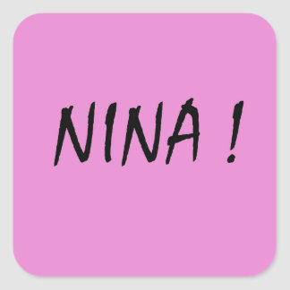 Nina text girls name with pink background square sticker