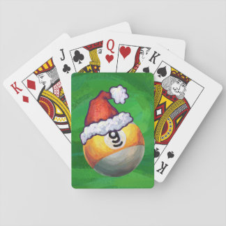Nine Ball in Santa Hat on Green Playing Cards