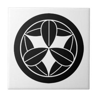 Nine bamboo leaves in circle ceramic tile