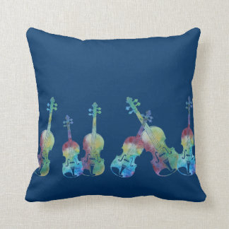 Nine Colorful Violins Cushion