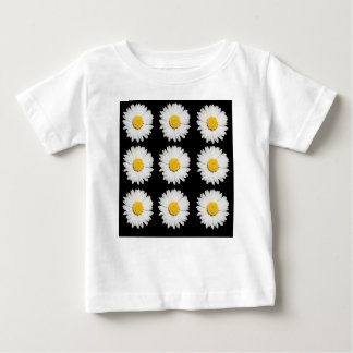 Nine Common Daisies Isolated on A Black Background Baby T-Shirt