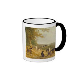 Nine Greyhounds in a Landscape (oil on canvas) Ringer Mug