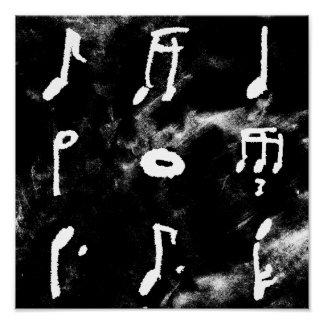 Nine Music Notes In A Square Poster