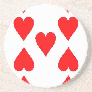 Nine of Hearts Playing Card Coaster
