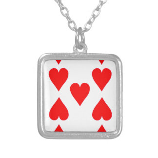 Nine of Hearts Playing Card Silver Plated Necklace