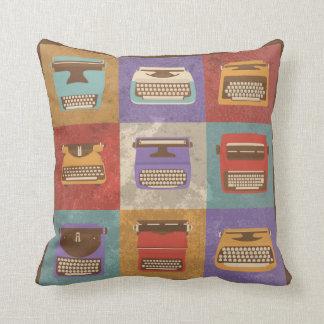 Nine Retro Typewriters Cushion