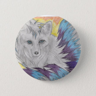 Nine tailed fox - Fantasy drawing 6 Cm Round Badge