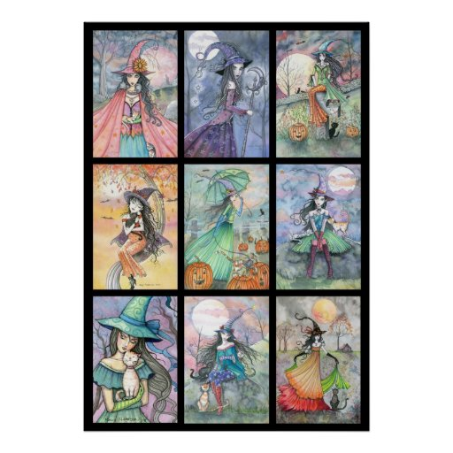 Nine Witches in One Poster Halloween Art