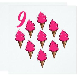 Nine year old Girls Birthday Cute Pink Ice Creams Card