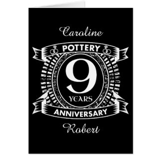Nine years Pottery wedding anniversary Card
