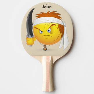 Ninja Angry Happy Face in Yellow  Personalized Ping Pong Paddle