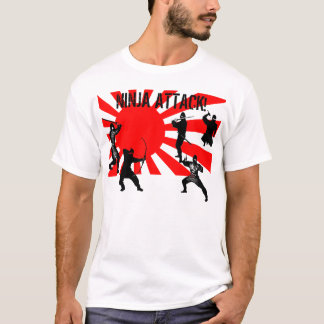 Ninja Attack black ninjas on japanese flag T-Shirt