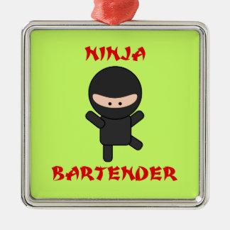 Ninja Bartender Metal Ornament