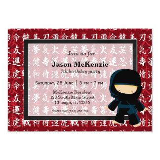 Ninja birthday theme 13 cm x 18 cm invitation card