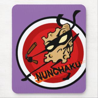 NINJA CHEESE WITH NUNCHUCKS VERTICAL MOUSE PAD
