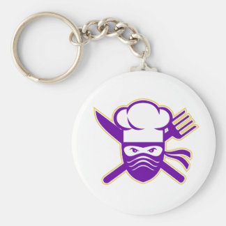 Ninja Chef Crossed Knife Fork Icon Key Ring