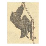 Ninja Climbing a Rope circa 1800s Japan Postcard