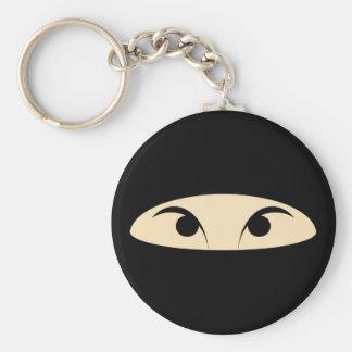 Ninja Face Basic Round Button Key Ring