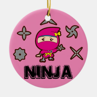Ninja Girl Ceramic Ornament