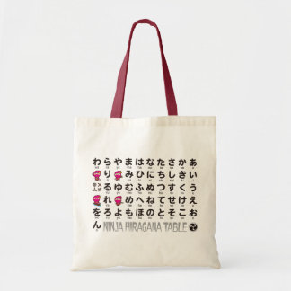 Ninja Girl Japanese Hiragana table Tote Bag