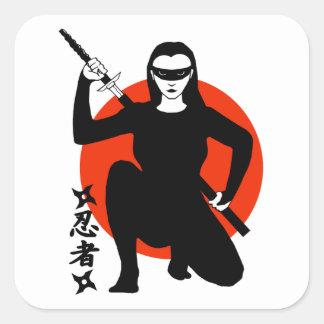 Ninja Girl Square Sticker