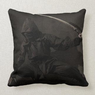Ninja Holding Sword on Throw Pillow