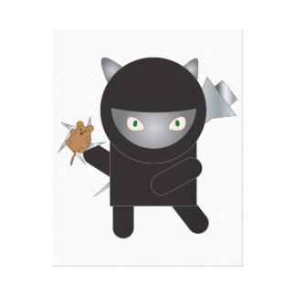 Ninja Kitty Cat with Mouse Canvas Print