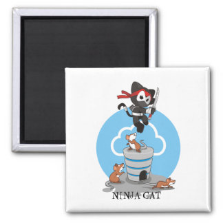 Ninja Kitty with Mice Magnet