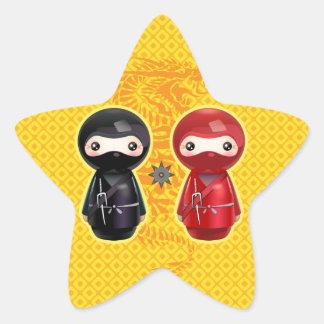 Ninja Kokeshi Star Sticker