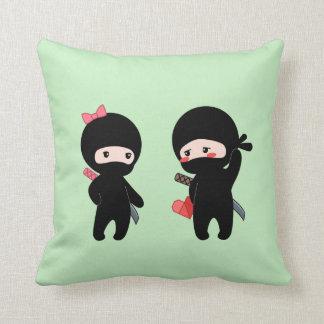 Ninja Pair, a Boy and a Girl on Green Cushion