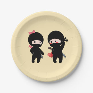 Ninja Pair, a Boy and a Girl on Yellow Paper Plate
