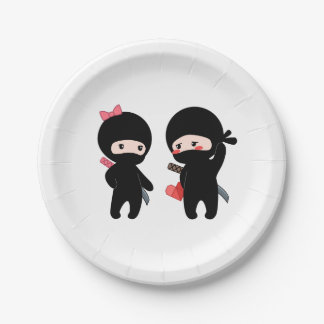 Ninja Pair, a Boy and a Girl Paper Plate