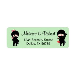Ninja Pair, a Boy and a Girl Return Address Label