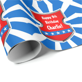 Ninja Patriotic Warrior Boys Kids Birthday Party Wrapping Paper