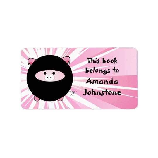 Ninja Pig on Pink Bookplate Address Label