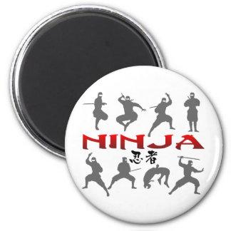 Ninja Pose Silhouette 6 Cm Round Magnet
