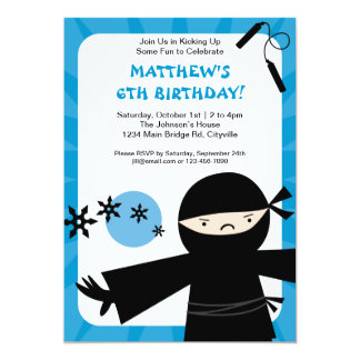 Ninja Power Blue Invitation