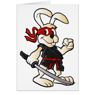 ninja rabbit cartoon card