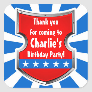 Ninja Warrior Boys Kids Birthday Party Thank You Square Sticker