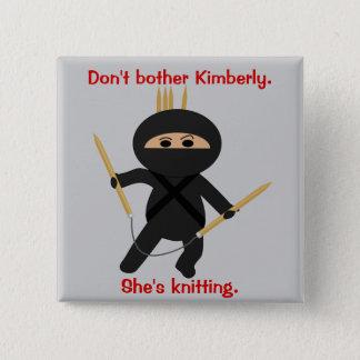Ninja With Circular Knitting Needles 15 Cm Square Badge
