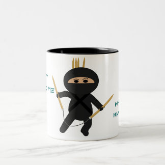 Ninja With Circular Knitting Needles Mug