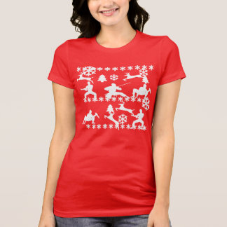 Ninjas & reindeer fighting ugly Christmas shirt