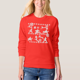 Ninjas & reindeer fighting ugly Christmas Sweater