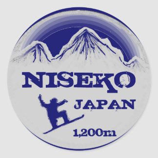 Niseko Japan blue snowboard art souvenir stickers