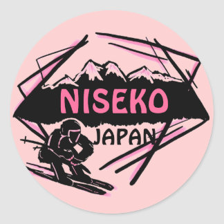 Niseko Japan pink ski logo art stickers